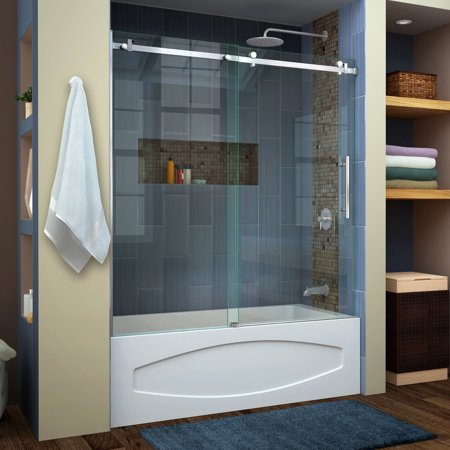 DreamLine Enigma Air 56-60 in. W x 62 in. H Frameless Sliding Tub Door in Brushed Stainless Steel