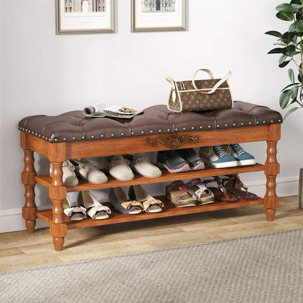Tribesigns Shoe Bench Entryway, Solid Wood Storage Foyer Bench 2-Tier Shoe Rack Bench with Lift Top Seating Tufted Leather Cushion