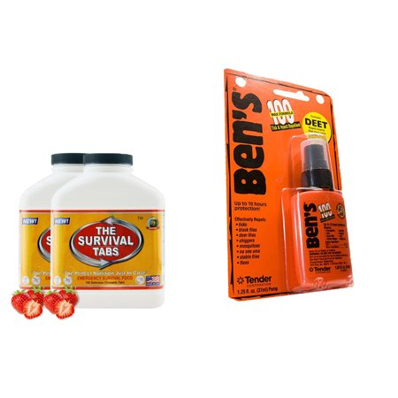MREs (360 Tabs Strawberry) for 30 Days and Ben's-100 Max Tick & Insect Repellent 1.25Oz Pump by