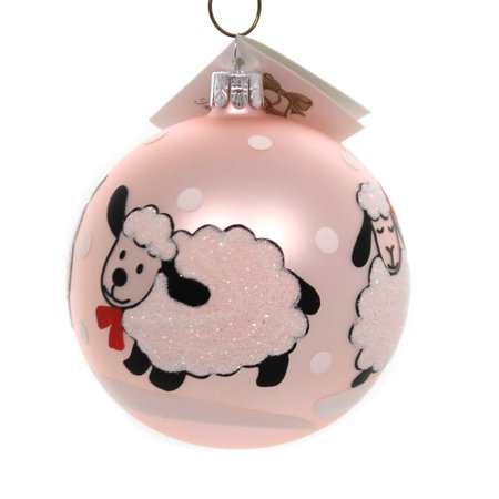 Golden Bell Collection BABY SHEEP BALL ORNAMENT Glass Hand Painted Bm683 Blue ()