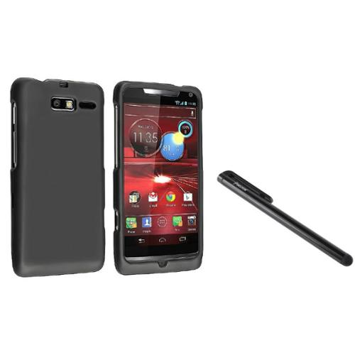 Insten BLACK RUBBERIZED HARD Case For VERIZON Motorola DROID RAZR M XT907+Stylus