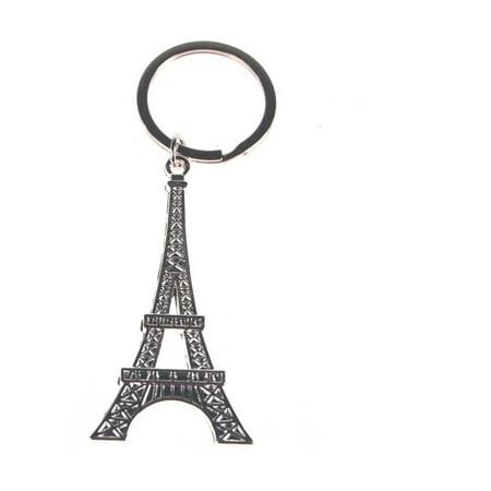 Metal Eiffel Tower Key Chain, Silver, -