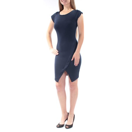 BAR III Womens Navy Slitted Cap Sleeve Jewel Neck Above The Knee Body Con Dress  Size: XL