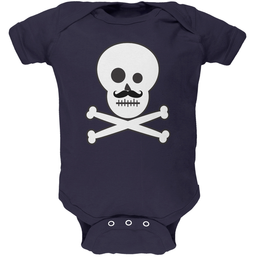 Skull and Crossbones Mustache Navy Baby One Piece