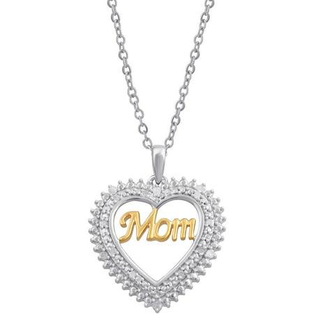 "1/10 Carat T.W. Diamond Sterling Silver Two-Tone ""Mom"" Inside Heart Pendant, 18"" Chain"