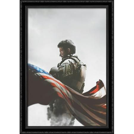 American Sniper 28x40 Large Black Ornate Wood Framed Canvas Movie Poster Art