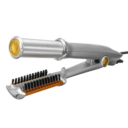 Professional 3-Mode 2-Way Rotating Curling Iron Hair Brush Curler Straightener Salon Hairdressing