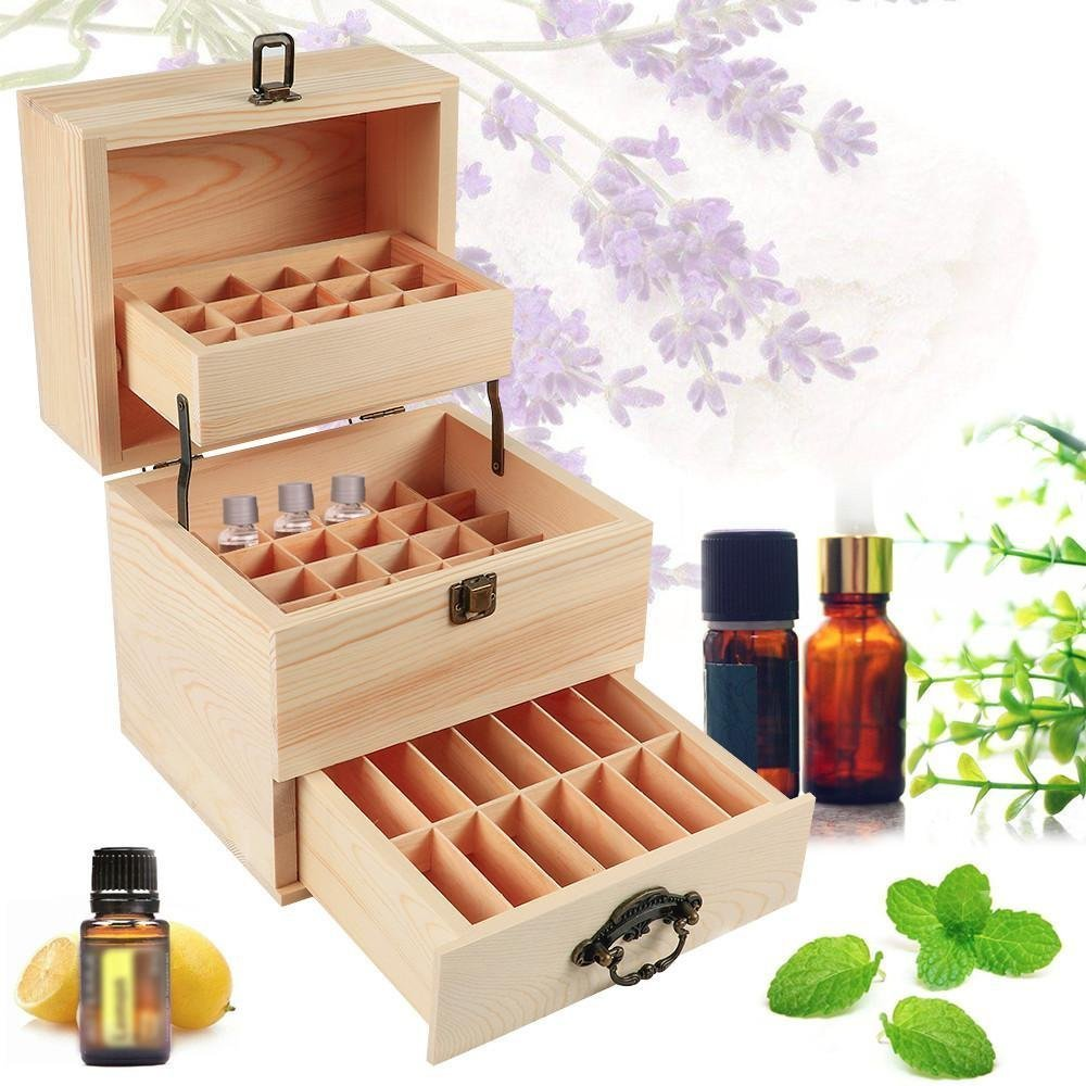 Wooden Essential Oil Box Multi-Tray Organizer, Storage Case Protects 45 5-15ml Essential Oil Bottles & 14 10ml Roller Bottles (59 Total Essential Oils)
