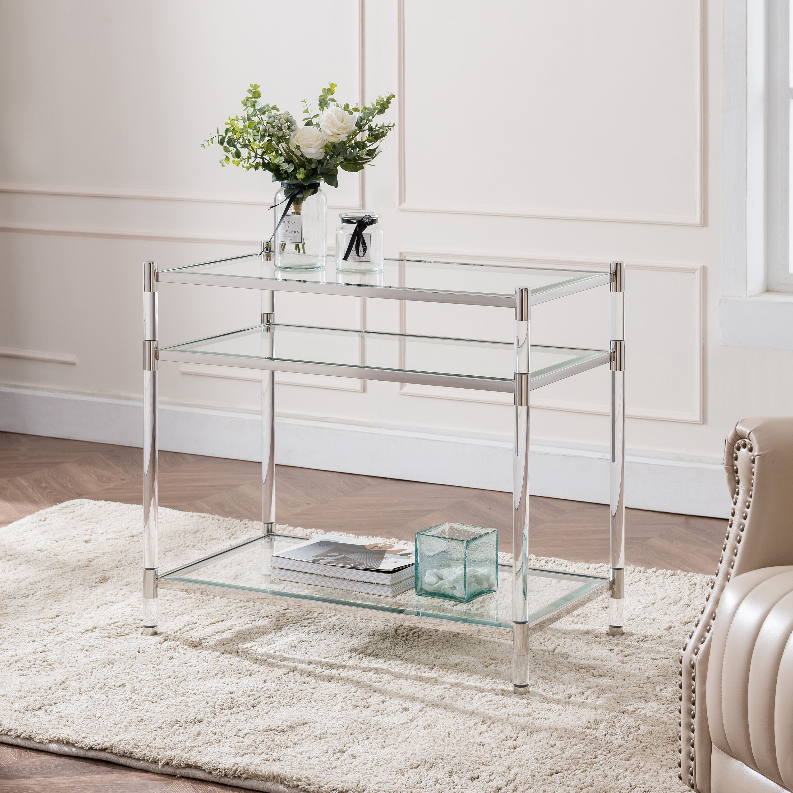 Carling Tall Acrylic Accent Table Glam Silver Walmart Com Walmart Com
