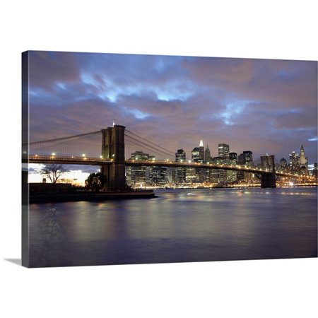 Great BIG Canvas Marc Jackson Premium Thick-Wrap Canvas entitled Brooklyn Bridge And Lower Manhattan At Dusk, New York City, NY (Party City Ny)