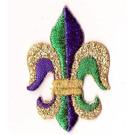 Fleur de lis - Gold/Purple/Green - Mardis Gras - Iron on Applique/Embroidered