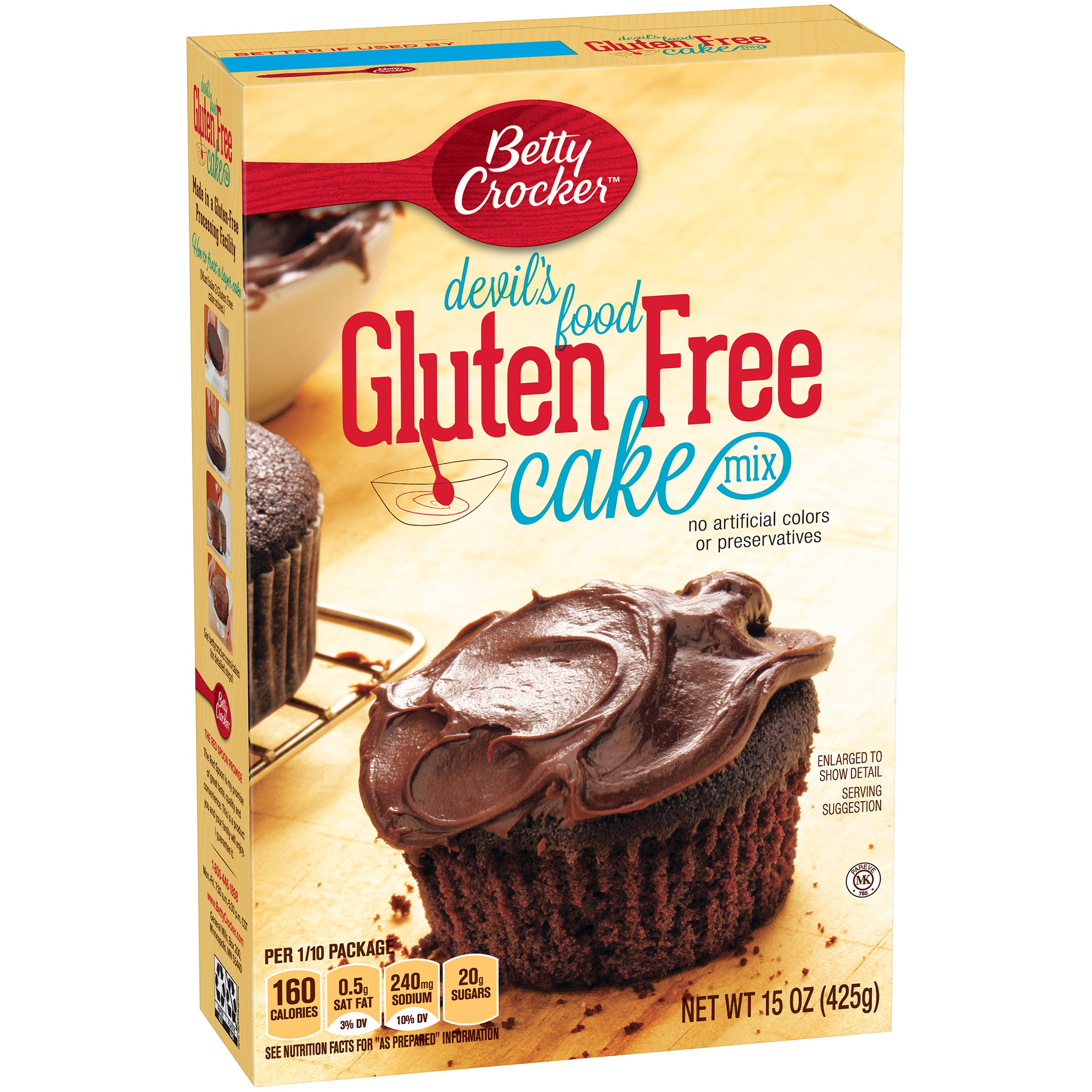 Betty Crocker Gluten Free Cake Mix Devil's Food 15.0 oz Box by General Mills Sales, Inc.