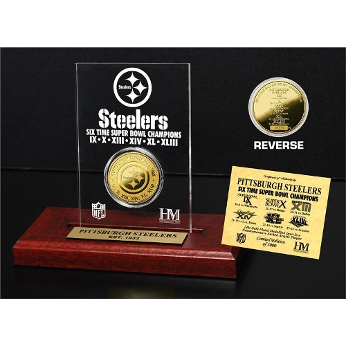 NFL Acrylic Display by The Highland Mint, Super Bowl - Pittsburgh Steelers, Gold Coin