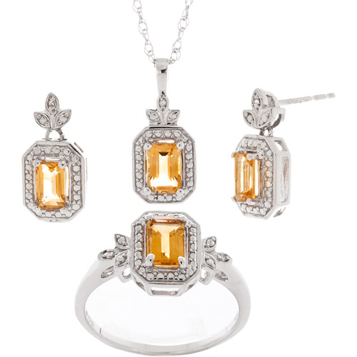 1.68 Carat T.G.W. Octagon Citrine and Diamond Accent Ring, Pendant and Earring Set in Sterling Silver