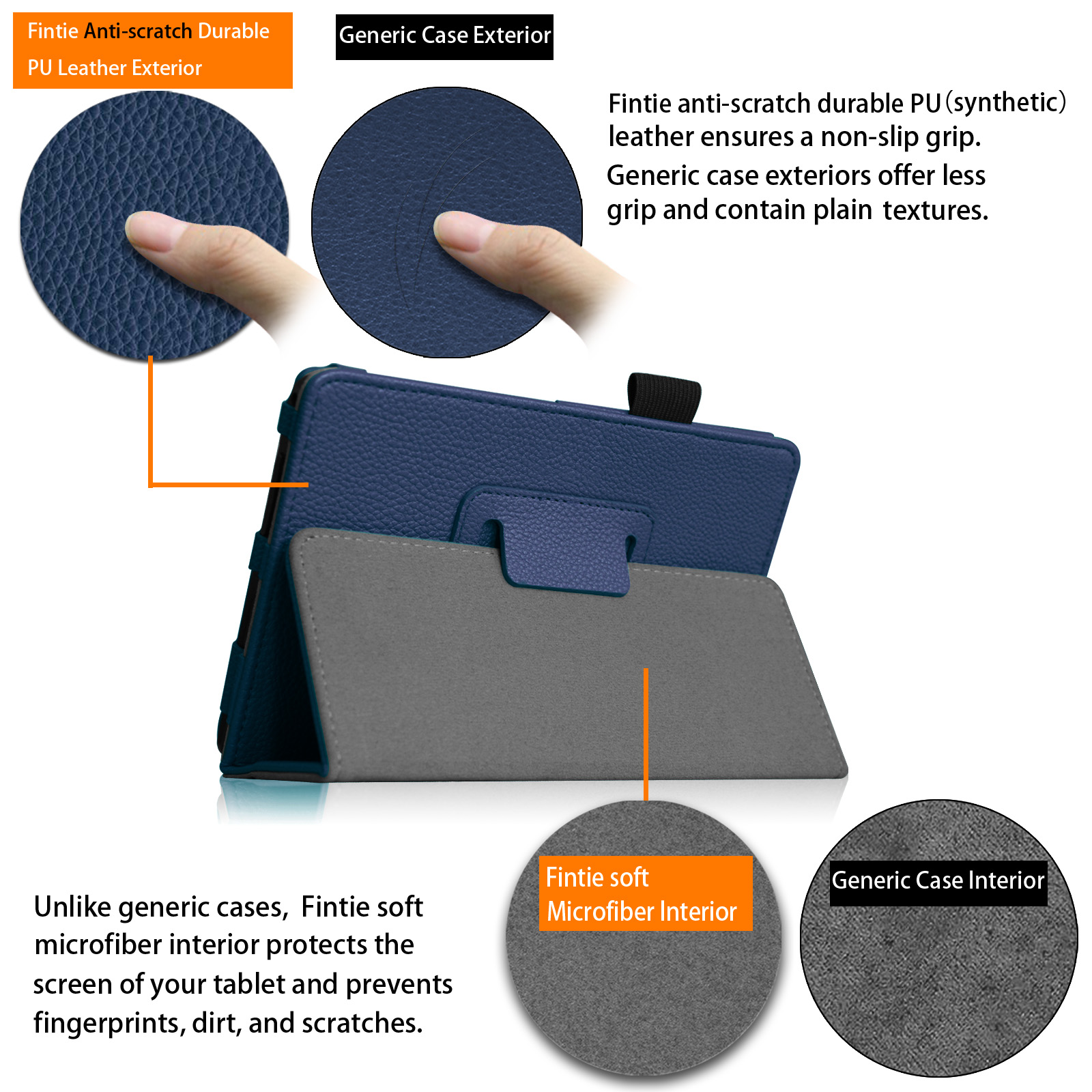 Fintie Sprint Slate 8 Tablet (AQT80) Case - [Slim Fit] Premium PU Leather  Folio Cover with Stylus Holder, Navy