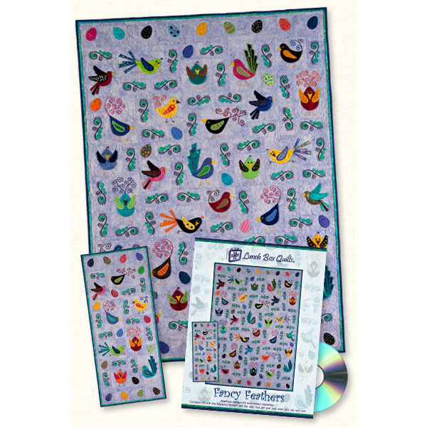 Artistic Lunch Box Quilt Designs - Fancy Feathers Quilt