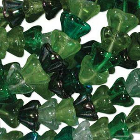Evergreen Mix 10x13mm Flower Cone 45 Bead Cap Czech Glass, Loose (Evergreen Mix)
