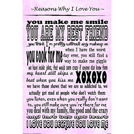 Reasons Why I Love You By Kelissa Semple 18X12 Art Print Poster Love Sayings Quotes Relationship Gifts The Notebook True Lovexoxo Kiss Giggles And Hugs Inside Jokes Pod