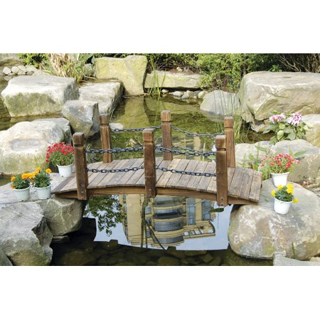 Rustic Wood Garden Bridge with Posts and Double Metal Chain Hand Rails Curved Rail Garden Bridge