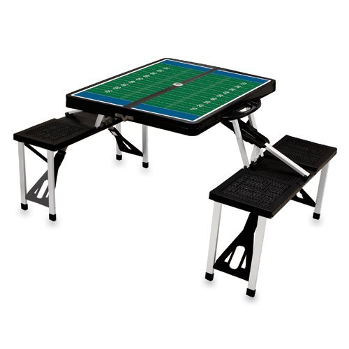 Picnic Time Black Folding Picnic Table With Football Imprint