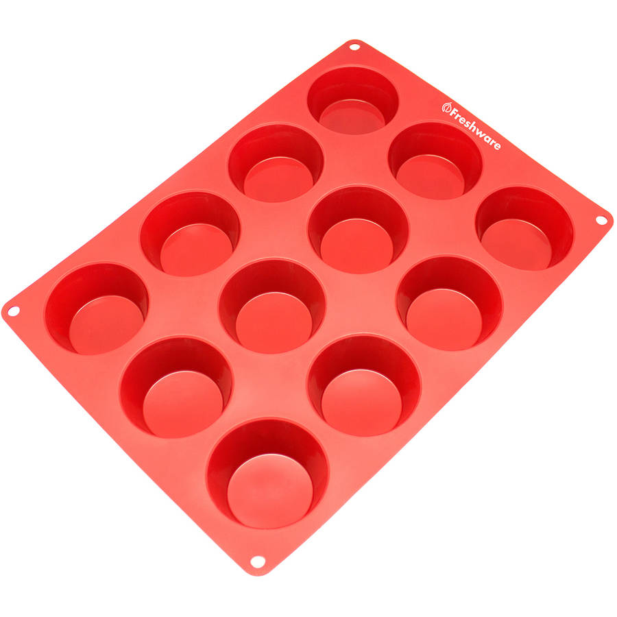 Freshware 12-Cavity Muffin Silicone Mold for Cupcake, Brownie, Cornbread, Cheesecake and Pudding, CB-118RD