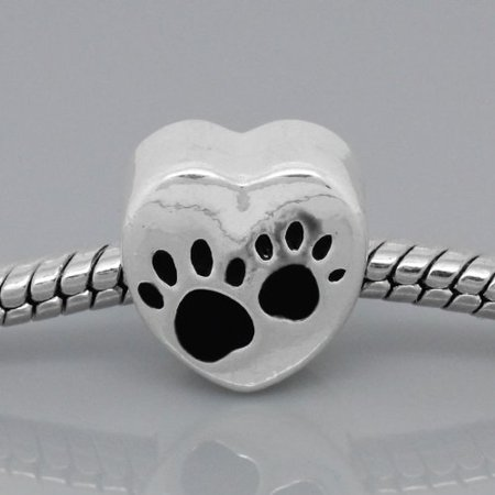 Antique Silver Design Black Love Heart Dog Paws Charm Bead. Compatible With Most Pandora Style Charm Bracelets.