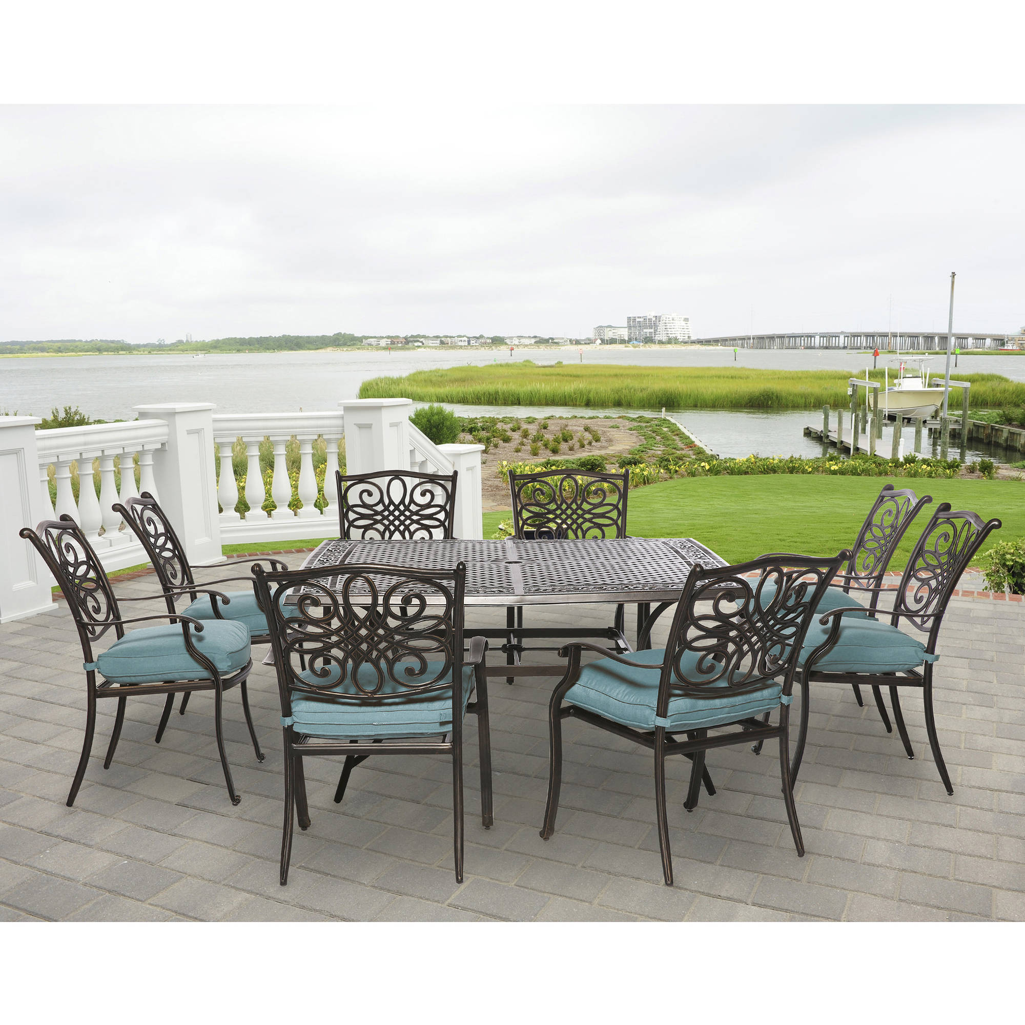 Hanover Outdoor Traditions 9-Piece Square Dining Set, Ocean Blue