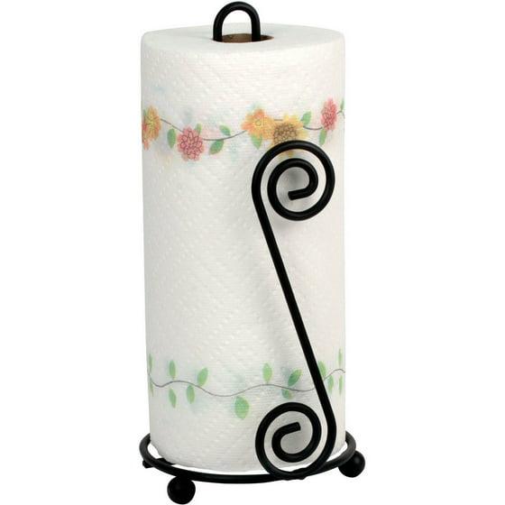 spectrum scroll paper towel holder black. Black Bedroom Furniture Sets. Home Design Ideas