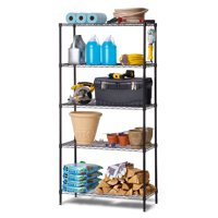"HSS 16""Dx36""Wx72""H, 5 Tier Wire Shelving Rack, Black"