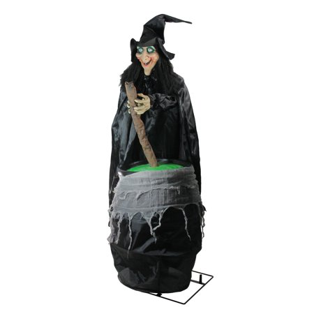 5.5' Lighted Witch and Cauldron Animated Halloween Decoration with Sound - Witches For Halloween Decorations