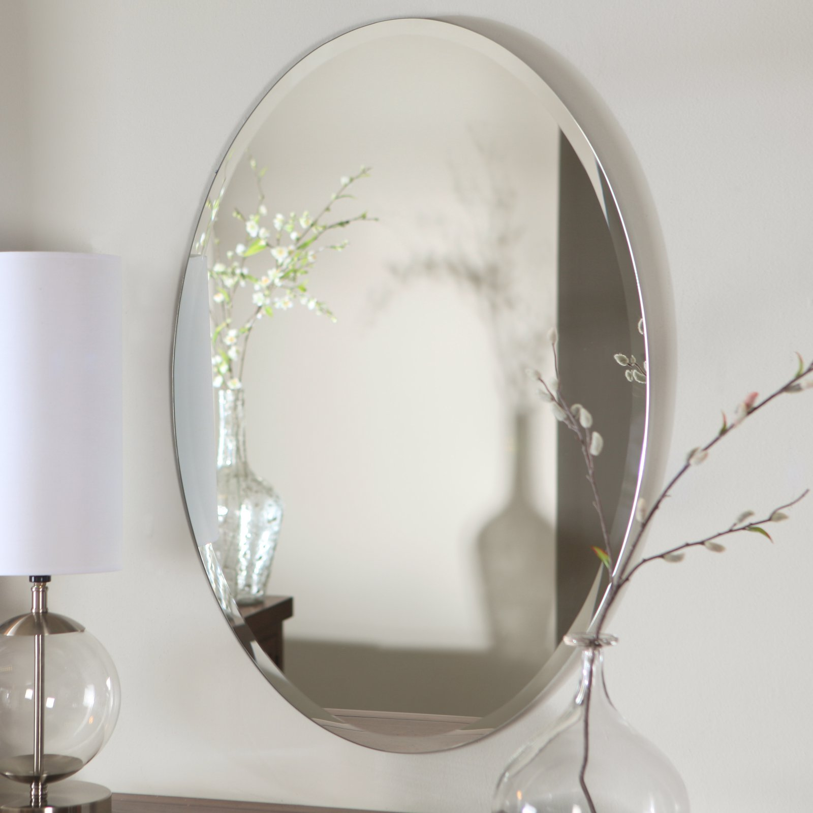 Décor Wonderland Hiltonia Oval Bevel Frameless Wall Mirror 24W x 36H in. by Decor Wonderland of US