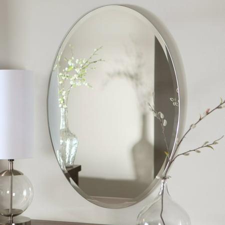 Décor Wonderland Hiltonia Oval Bevel Frameless Wall Mirror - 24W x 36