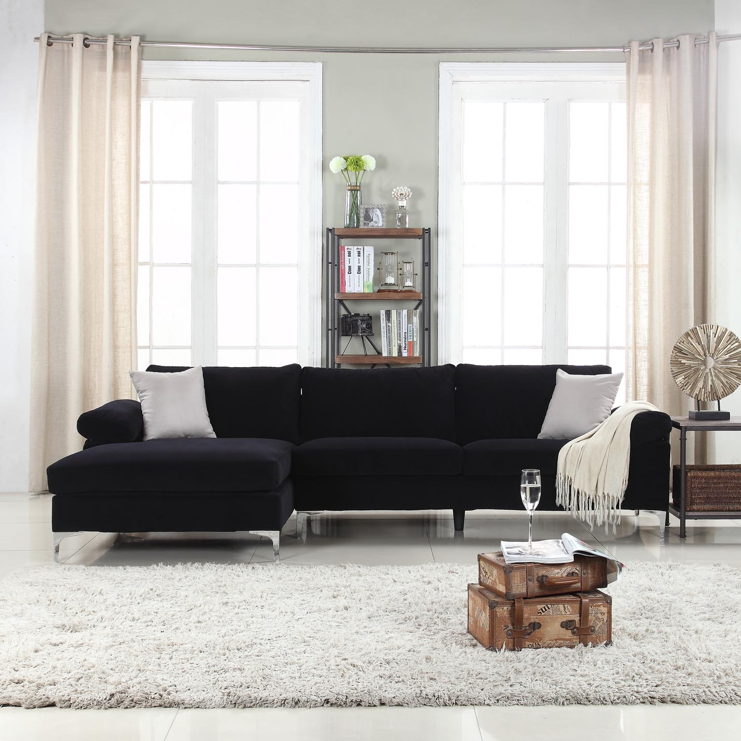 Modern Velvet Large Sectional Sofa, Oversized Sectional Sofas With Chaise