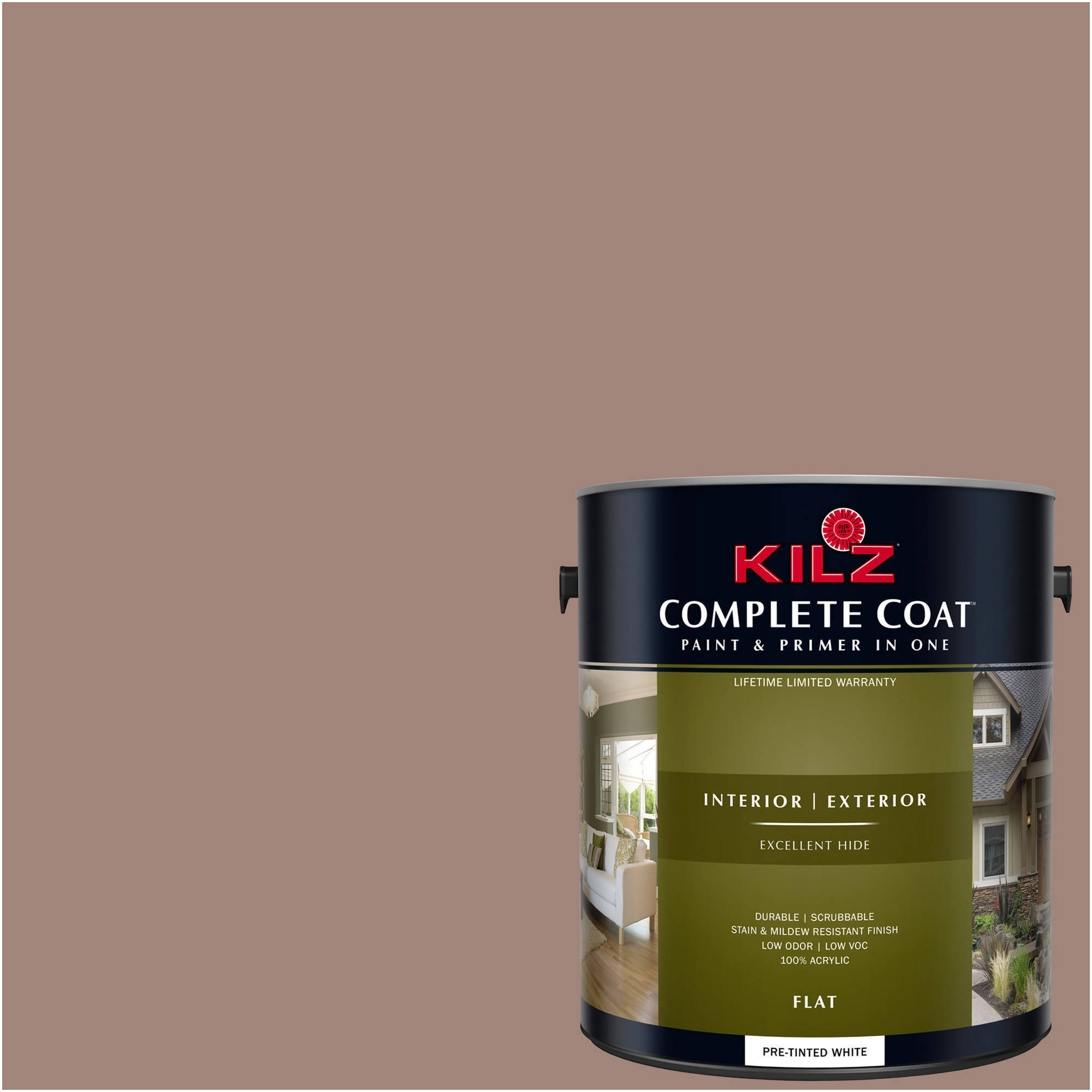 KILZ COMPLETE COAT Interior/Exterior Paint & Primer in One #LM250 Spiced Cocoa