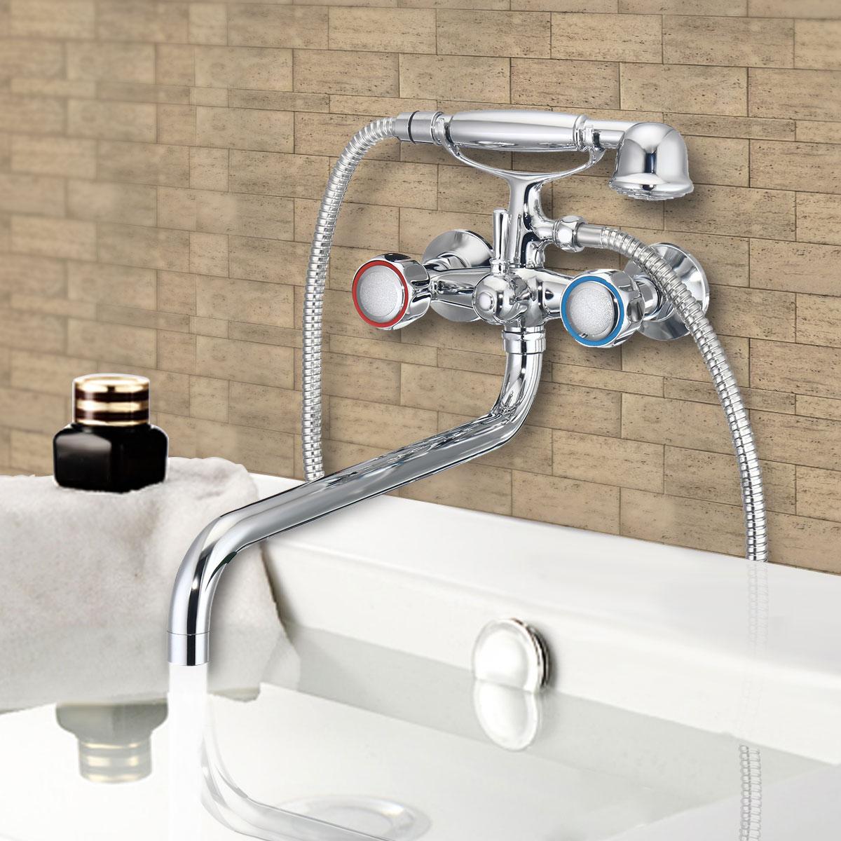 ON CLEARANCE Chrome Wall Mounted Bathroom Bathtub Shower Faucet Set Mixer + Hand Sprayer