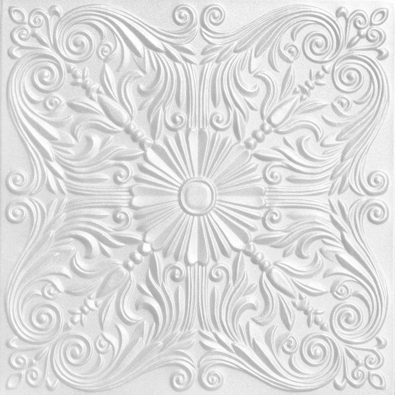 Spanish Silver 1.6 ft. x 1.6 ft. Foam Glue-up Ceiling Tile in Plain White (21.6 sq. ft. / case)