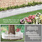 Flexible White Picket Fence Garden Border 4pcs by
