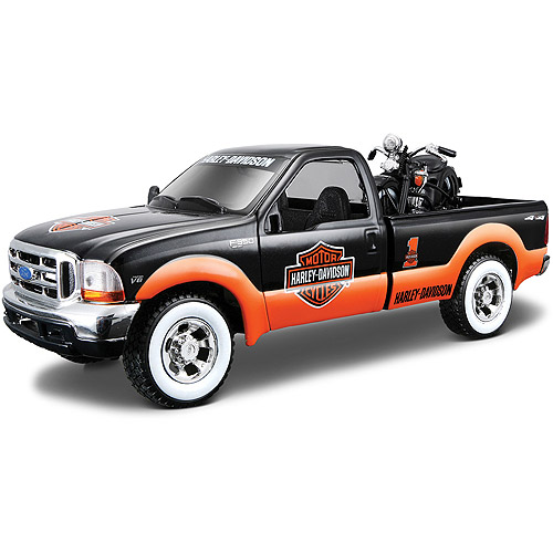 Harley Davidson Themed 1:24 1936 EL Knucklehead + 1:24 1999 Ford F-350 Super Duty Pickup by Generic