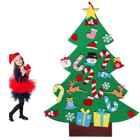 EEEKit 3ft Felt Christmas Tree for Kids Children - DIY Christmas Tree with 26 Pcs Detachable Ornaments - Door Wall Hanging Xmas Gifts Christmas New Year Decorations with Hanging Rope ()