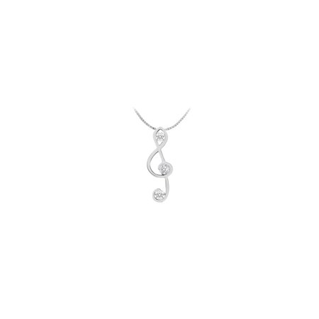 Musical Note Pendant with Three diamond in 14K White Gold 0.12 Carat Diamonds - image 2 of 2