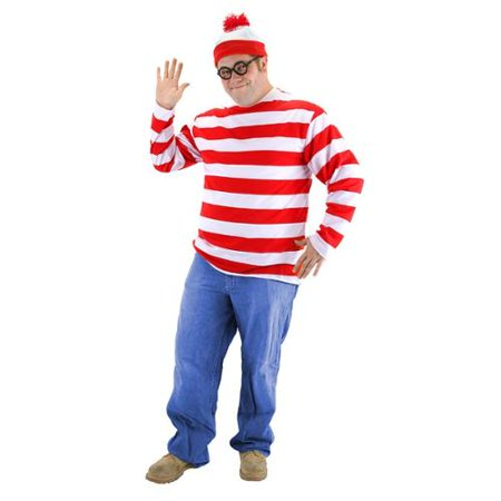 Where's Waldo Adult Plus Costume (Where's Waldo Costumes Kit)
