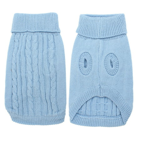 Unique Bargains Pet Dog Doggy Light Blue Cable Knit Ribbed Cuff Knitwear Costume Sweater - Blue Pet Sweater