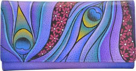 New Anuschka Handpainted Womens Leather 1701 Checkbook Wallet//Clutch
