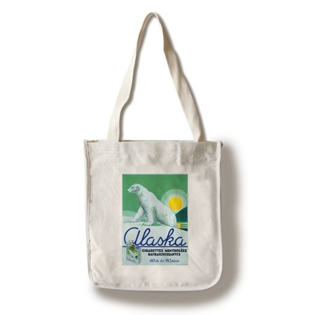 Alaska - Cigarettes Mentholees Rafraichissants Vintage Poster France (100% Cotton Tote Bag - Reusable)