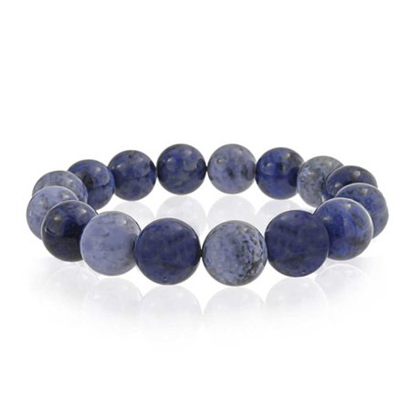 Round Ball Bead Boho Fashion Shades Of Denim Blue Sodalite Strand Gemstone Stretch Bracelet For Women For Teen 12MM Bling Ball Bracelets