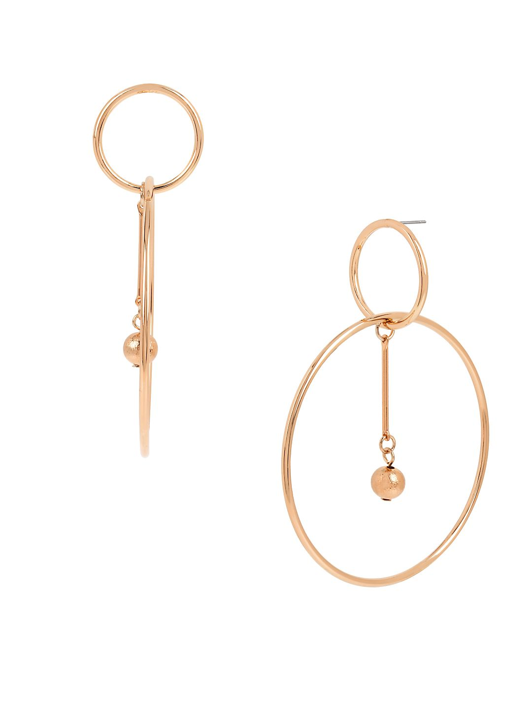 Rose Goldtone Double Circle Drop Earrings