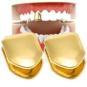 HuiYouHui 2 Pieces 14K Plated Gold Grillz Mouth Teeth, Hip Hop Teeth Plain , Top Tooth Single Grill Cap for Teeth Mouth, Party Accessories Teeth Grills (Color : Gold)