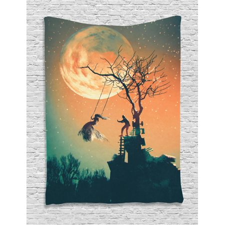 Fantasy World Tapestry, Spooky Night Zombie Bride and Groom Lady on Swing Under Starry Sky Full Moon, Wall Hanging for Bedroom Living Room Dorm Decor, Orange Teal, by Ambesonne