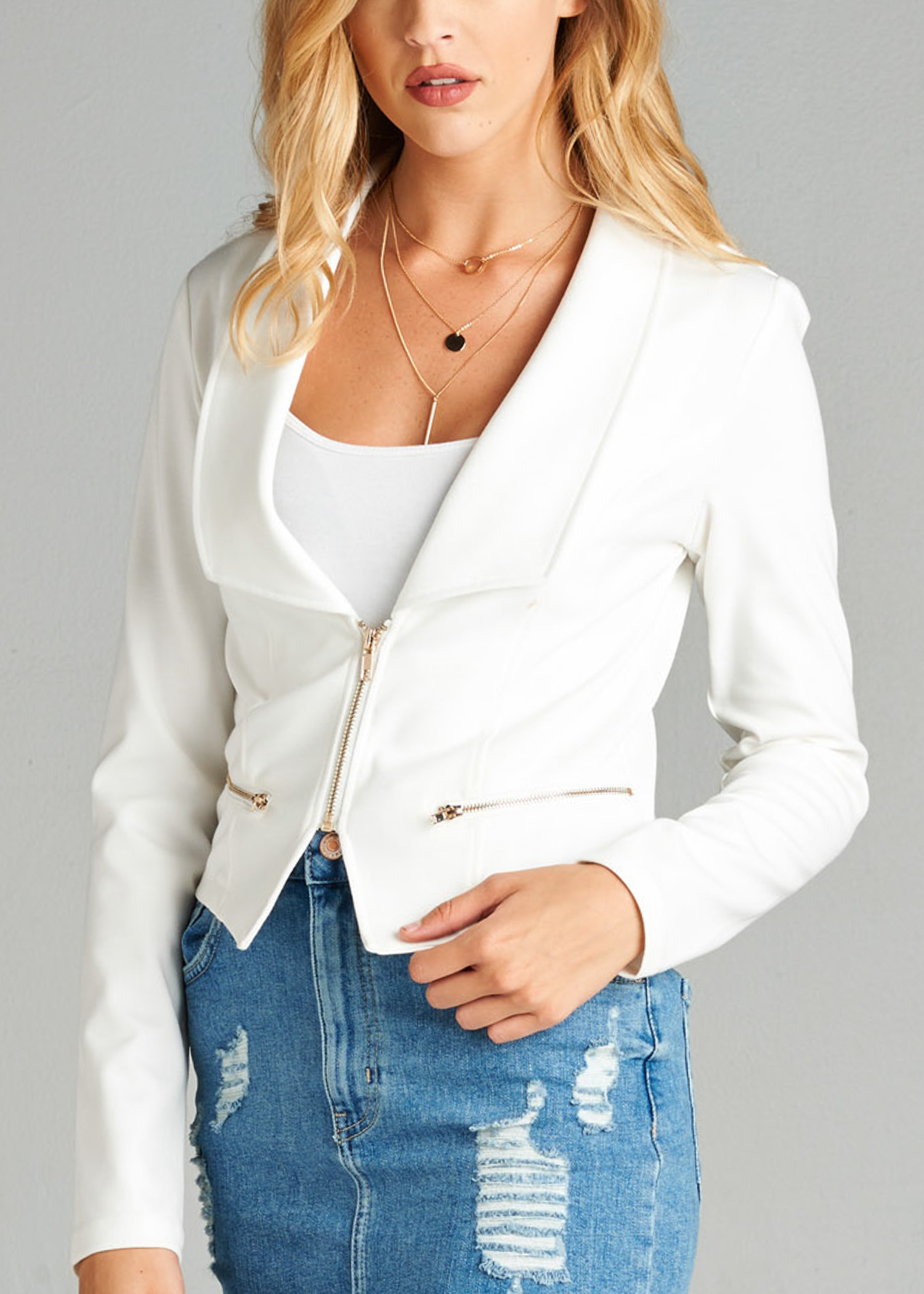 Womens Juniors Stylish Fashion Careerwear Solid White Long Sleeve Zip-Up Moto Jacket 41198V