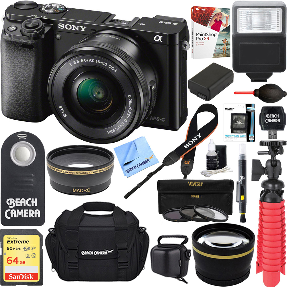 Sony Alpha a6000 24.3MP Wi-Fi Mirrorless Digital Camera + 16-50mm Lens Kit (Black) +64GB SD Card + DSLR Photo Bag + Extra Battery+Wide Angle Lens+2x Telephoto Lens+Flash+Remote+Tripod Executive Bundl